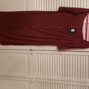 Puppy love dress burgundy in color